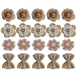 Flower For decoration wholesale online shopping - 20PCS Handmade Burlap Rustic Lace Roses Flowers for DIY Craft Making and Christmas Home Wedding Party Decoration