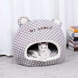 Designs For Beds NZ - Free Shipping Warm Pet Cat House Cave Beds Puppy Dog Sleeping Bag with Removable Cushion Cut Design For Cats Puppy Pet Bed