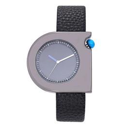 Discount men simple style watch - Hot 2018 Fashion Quartz Watch Women Men Simple Style Irregular Shape (Genuine) Leather Strap Wristwatch Decoration Gift