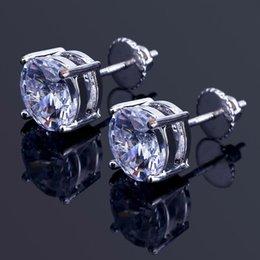 871eaedceb7a 8 mm Hip Hop Stud Pendientes de plata chapado en oro CZ pendiente para mujer  para mujer earing ear ring mujeres hombres diseñador pendientes de lujo  joyería ...