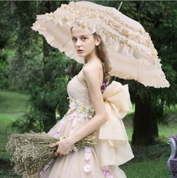 Cosplay tube online shopping - Bridal Lace Paraso Creative Cosplay Lace Princess Automatic long handle Photography Classic style Bride Bridesmaid Marriage Wedding umbrella