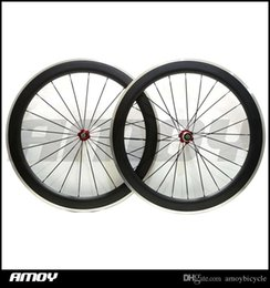Alloy Front Carbon Australia - Free shipping Clincher Road Bike Bicycle Wheelset with Bitex Hubs, Aluminum 700c 60mm Carbon Fiber Alloy Brake wheels