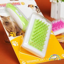 cats comb NZ - Wholesale Pink Green PVC Handle Rubber Needle Bar Cat Dog Grooming Comb Pet Razor Comb Massager Puppy Products Supplies