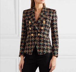 Nouveau Avec Marque Brand B Top Qualité Original Design Femmes Double-Breasted Boucle En Métal Blazer Pied-de-Poule Tweed Mince Veste Outwear