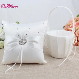 Party Event Decoration NZ - Wedding Basket for Flower Girls Flower Girl Basket and Ring Pillow Set for Wedding Decoration Event Party Supplies Hot Sale