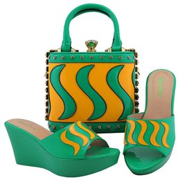 Shoes Green Color Australia - md005 Elegant Green Color PU Crystal Italian Shoes With Matching Bags High Quality African Party Shoes And Bags Set TX-864