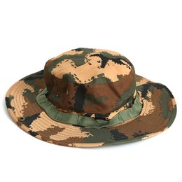 Summer Men s Sunscreen Hats Outdoor Fishing Hat Camouflage Wide Brim Hats  For Men Outdoor Sun Hats discount cotton wide brim hats 065d302f6fe8