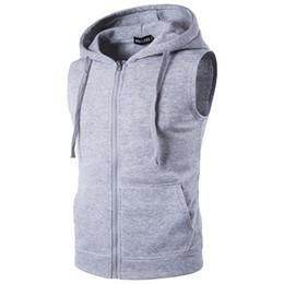 Discount men fleece sleeveless hooded vest - Men's fleece Men's Fashion Fleece Plain Fit Hooded Sleeveless Front Zipper Hoody Solid Vest hoodies