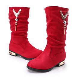 styles winter boot Canada - Girls Fashion Boots Winter Flock High Boots Square Heel Red Black Chain Princess Style Girls Shoes