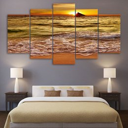 $enCountryForm.capitalKeyWord NZ - Wall Modular 5 Piece Sunset Golden Sea Waves Large Beach Pictures For Living Room Decorative Frame HD Poster Canvas Print Painting