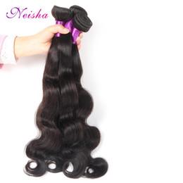 Venta al por mayor de Neisha Raw Indian Wave Onda Bundles 3 unids Indian Virgin Hair Body Wave Extensiones de Cabello Humano Envío gratis