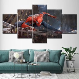 spider spray NZ - Canvas Painting Insomniac Spider-man Cosplay 5 Pieces Wall Art Painting Modular Wallpapers Poster Print for living room Decor