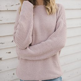 f8d434e98 Autumn Women Sexy Sweater Pullovers Long Sleeve New Deep V Neck Casual Pink  Sweater Size S-XL