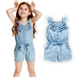c31c796684de 2018 Summer Girls Jumpsuit Children clothing Denim Color Ruffles Bow Jumpsuits  Short sleeve Single-breasted Buttons Kids Clothes