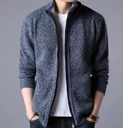 Men Warm Cardigan Sweatercoat 2018 Autumn Winter Casual Loose Stand Neck  Wool Sweaters Coat Man Zipper Thick Knittwear Plus Size for Men Hot c75d9f80582c