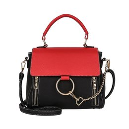 Multi Color Ladies Handbags Australia - Panelled Color Women Shoulder Bag Female Double Zipper Metal Chain Ring PU Leather Medium Capacity Handbags Lady Totes Flap Bags