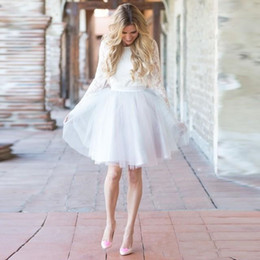 $enCountryForm.capitalKeyWord NZ - 2019 Elegant Two Pieces White Lace Beach Wedding Dresses Knee Length Full Sleeve Long Sleeves Jewel Neck Wedding Bridal Gown Cheap