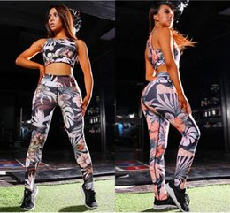 Discount push up bra american European & American New Trends 3D Printed Women Leggings and Bras Slim Yoga Running Clothes Fashion Female Push Up Sport