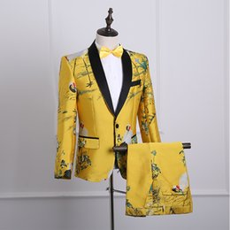 Discount coat tie pants men - 3pcs Mens Gold Printed Floral Formal Wedding DJ Suits Suit Blazer Coat Pants Bow Tie Slim Fit Chinese Size