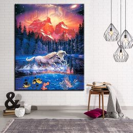 abstract canvas horse oil painting 2019 - Animals Scenery DIY Painting By Numbers Kits Coloring Running Horses Oil Pictures Hand Paint Zebra Unicorn On Canvas Hom