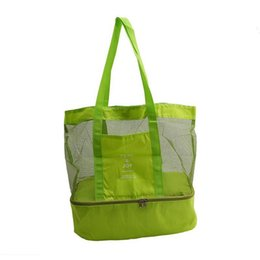 $enCountryForm.capitalKeyWord UK - Portable Mesh Beach Bag with Double Layer Picnic Cooler Tote Bag(Green)
