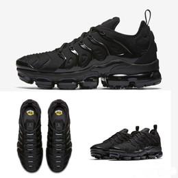 9ba502ceb7f7e 2018 gros de haute qualité arc-en-ciel noir complet noir blanchi TN hommes  Run Run Sport chaussures Sneakers chaussures de course taille 36 air 45 Nike  Air ...