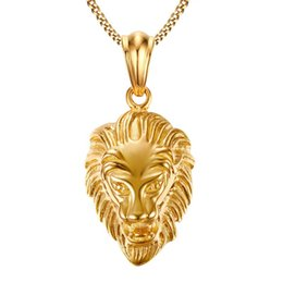 gold chain necklace lion pendant UK - 316L Stainless Steel Hip Hop Big Lion Head Pendant & Necklace Animal King Vintage Gold Color Hiphop Chain For Men Women Jewelry Gift