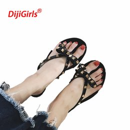 0ba65d750707 2018 European summer new fashion rivet bow flat flip flops women wear cool slippers  jelly shoes