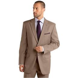 button design suit 2019 - Custom Made Hot Sales Notch Lapel Solid Brown Best men Suit men suits designs tuxedos for Bridegroom (Jacket+Pants) chea