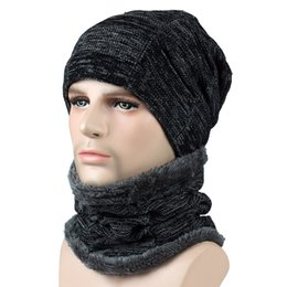 3edf01d9918 Autumn Winter Unisex Hat Caps Knitted Wool Warm Scarf Thick Windproof Beanie  Multi Functional Hat Scarf Set For Women Men Newest