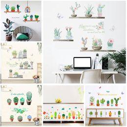 small bonsai pots 2019 - garden potted plants cactus aloe wall stickers home decor living room flower butterfly bonsai wall decals diy mural art