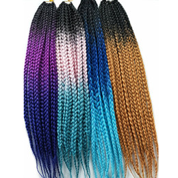 "Discount ombre black blue braiding hair - 5 Packs 22"" Black Purple Blue Grey Pink Ombre Goddess Crochet Braids Hair Extensions Synthetic African 3S Box Braid"