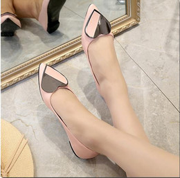 Discount heart mouth - Pointed peas shallow mouth single shoes autumn 2018 new wild Korean version of the female large size heart-shaped square