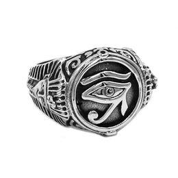 Egypt frEE shipping online shopping - Egyptian Eye of Horus Ra Udjat Amulet Ring Stainless Steel Ring Egypt Pharaoh King Motor Biker Mens Women Ring B