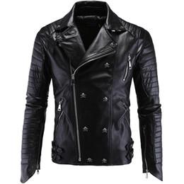 AsiAn strip online shopping - Men PU Leather Jacket Biker Streetwear Winter Male Punk Style Jacket with Skull Buttons Zippers Asian Size M XL