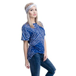 ladies graphic t shirts UK - Women T-shirt Blue Bandana 3D Full Print Girl Free Size Stretchy Casual Tops Lady Short Sleeves Digital Graphic Tee Shirt Blouse (GL37197)