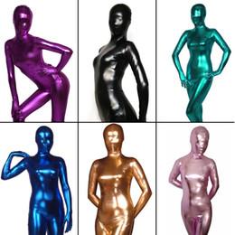 $enCountryForm.capitalKeyWord NZ - Women's Shiny Liquid Metallic Wet Look Bodysuit Skin Tight Spandex Full Body Zentai Suit Unitard Costume for Adult Unisex