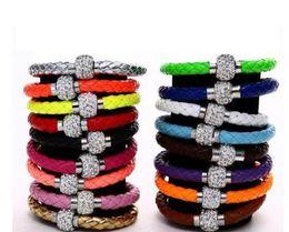 Shambhala Chain NZ - Hot sell PU leather bracelet Shambhala crystal bracelet fashion magnet buckle series bracelet