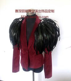 Wholesale feather bar for sale - Group buy Super red black feather brooch shoulder band stage performance bar performance studio men s and women s decorations