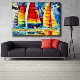 $enCountryForm.capitalKeyWord Australia - 100% Handmade Modern Palette Knife Sailing Oil Painting On Canvas Art Pictures For Room Decor Wall Paintings Picture