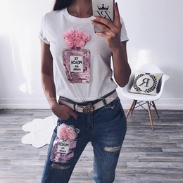 $enCountryForm.capitalKeyWord Canada - Summer Women Two Piece Set Pink Flower Sequin White T Shirt + Ankle Ripped Jeans Woman 2 Pieces Pant Suit Sets Outfits