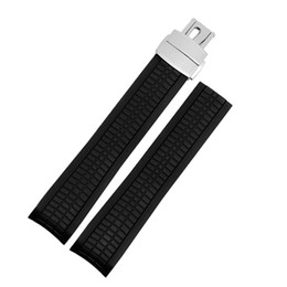 Discount buckle strap for watches - Natural silicone strap 21mm replacement rubber watch band for 5164a5167a-001 with folding buckle