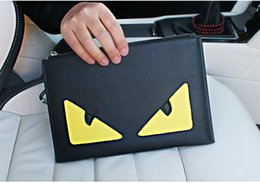 Wholesale New high quality large size cm mens double eyes monster black designer wallets male casual zero purses fashion clutchs no103