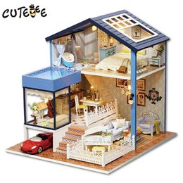 Toy Furniture Wholesale NZ - CUTEBEE Doll House Miniature DIY Dollhouse With Furnitures Wooden House Toys For Children Birthday Gift gift for girlfriend
