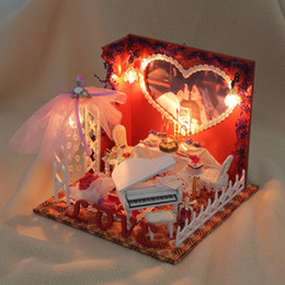 Wholesale- New Arrival Hoomeda D029 Love Melody DIY Handmake House With Cover Light Dollhouse Miniature Best Gift For Girl & Diy Dollhouse Lights Online | Diy Dollhouse Led Lights for Sale