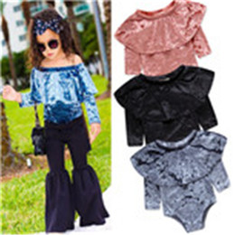 baby romper velvet 2019 - Baby Lotus leaf collar romper INS girls Gold velvet Jumpsuits 2018 new fashion kids Boutique clothingBaby Lotus leaf col