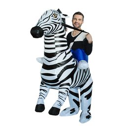Discount inflatable riding costume - Halloween Costumes for Adults Inflatable Zebra Costume Ride on Zebra Mascot Costume Air Blown Fancy Dress LJ-041