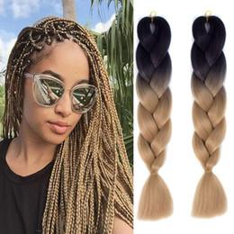 "Discount crochet braids - Ombre Braiding Hair Extensions 3pcs Lot High Temperature Fiber synthetic 100g pc Crochet Braiding Box Braids 24"" (6"