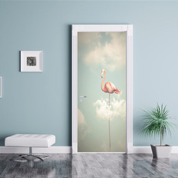 crown door NZ - 2pcs set Beautifu Animal Red-crowned crane Waterproof DIY Door Stickers Painting Wallpaper Poster Wall Decal Bedroom Living Room Home Decor