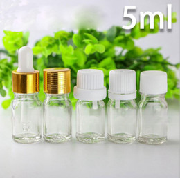 caps best price 2019 - Best Price 5ml Clear Glass Dropper Bottles For E liquid E juice 5ml Empty Essential Oil Glass Bottles With Gold White Ca